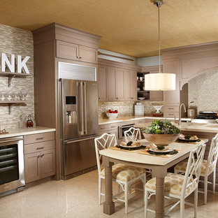 Design ideas for a mid-sized tropical l-shaped separate kitchen in Miami with an undermount sink, shaker cabinets, grey cabinets, concrete benchtops, blue splashback, mosaic tile splashback, stainless steel appliances, marble floors, with island and beige floor.