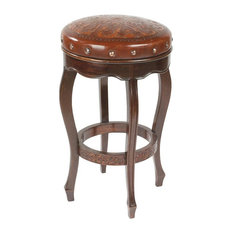New World Trading Colonial Spanish Heritage Round Backless Counter Stool in Hand Tooled Leather
