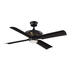"Fanimation - Pickett Ceiling 52"" Fan, Black With Brushed Satin Brass Accent, LED Light - Ceiling Fans"