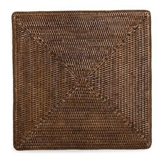 """Square Rattan Placemat 15"""", Set of 4"""