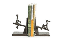 Children Playing on a See-Saw Metal Bookend Set