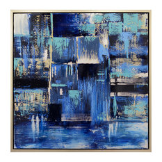 """Harp and Finial HFW32888 Indigo 38"""" x 38"""" Framed Pattern Painting on Canvas"""