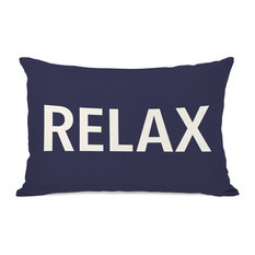 """Relax"" Outdoor Throw Pillow by OneBellaCasa, Midnight, 14""x20"""