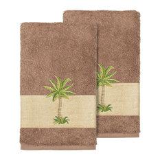 Colton 2-Piece Embellished Hand Towel Set, Latte