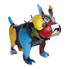 Mexican Imports   Recycled Metal Bulldog, Multi Colored, Small   Garden  Statues And