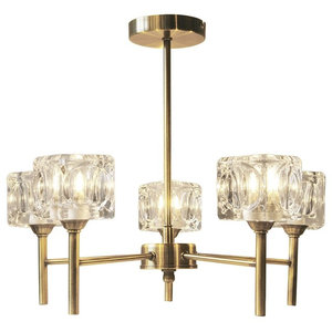 Ice Cube 5-Light Antique Brass Ceiling Light