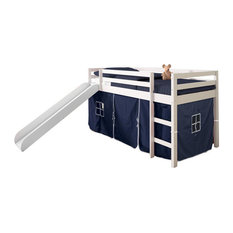 Horner Kids Twin Loft Bed With Slide and Tent, White and Blue, Blue