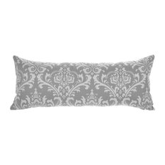 "Maggie Silver Lumbar Pillow Cover 14""x35"", Cotton and Linen"