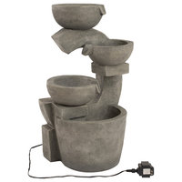 Pure Garden 4, Tier Polyresin Bowl Fountain With Led Lights