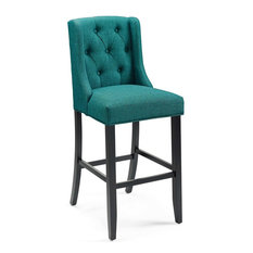 Baronet Tufted Button Upholstered Fabric Bar Stool, Teal