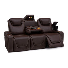 Seatcraft Vienna Leather Home Theater Seating Power Recline Sofa, Brown