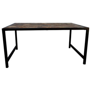 Parquet Teak Coffee Table With Iron Base, Large