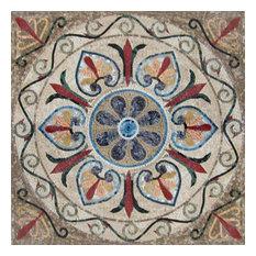 """Mozaico - Arabesque Floral Mosaic, Yanu, 31""""x31"""" - Tile Murals"""