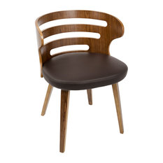 LumiSource Cosi Dining/Accent Chair In Walnut And Brown PU Leather