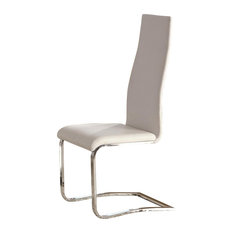 White Faux Leather Dining Chairs With Chrome Legs Set Of 2