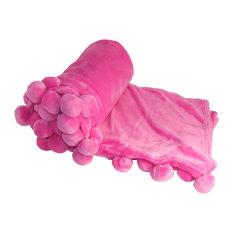Pom Pom Flannel Fleece Throw Blanket, Candy Pink