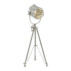 "Urban Designs 78"" Aluminum Sealight Adjustable Tripod Floor Lamp, Silver"