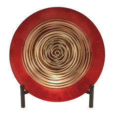 Brimfield u0026 May - Contemporary Geometric Spiral Glass Plate With Easel Stand - Decorative Plates  sc 1 st  Houzz & 50 Most Popular Contemporary Decorative Plates for 2018 | Houzz