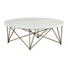 Sunpan 103515 Skyy Coffee Table, Round, Antique Brass, White Marble