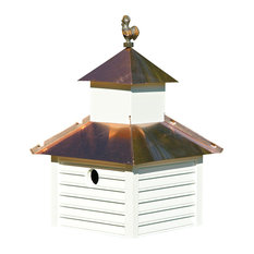 Rusty Rooster Bird House, White House With Bright Copper Roof