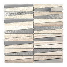 """11.75""""x11.75"""" Eliot Stone and Glass Mosaic Tile Sheet, Beige and Silver"""