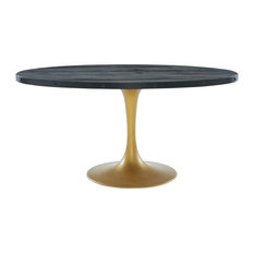"""Drive 60"""" Oval Wood Top Dining Table, Black Gold"""