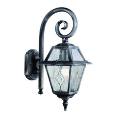 Genoa IP23 Black and Silver Outdoor Wall Light With Lead Glass