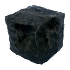 Goat Fur Pouf Black
