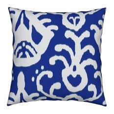 Navy Ikat Blue Ikat Throw Pillow, Organic Sateen