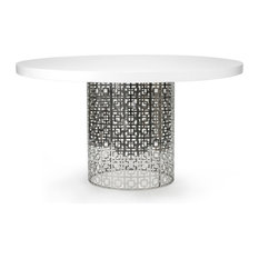 Nixon Dining Table, White Lacquer/Nickel