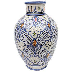Moroccan Vase Safi Ceramic  Multicoloured  Handmade Hand Painted, 40 cm