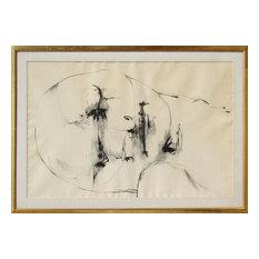 "Leonard Baskin ""Untitled Head"" Ink Drawing"