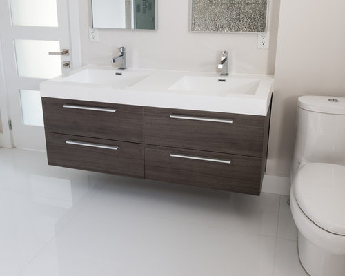 "54"" Alnoite Modern Wall Mounted Double Basin Bathroom Vanity"