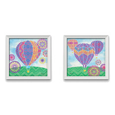 Fantasy Hot Air Balloons, Set of Two 16x16in White Framed Prints