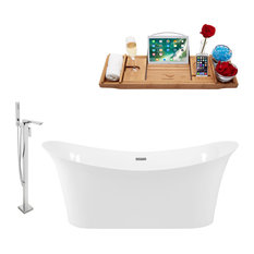 """Tub, Faucet and Tray Set Streamline 67"""" Freestanding KH88-140"""