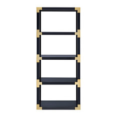 ACME Lalfy Etagere Bookcase, Gold and Black High Gloss and Black Mirror
