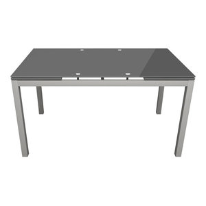 Glass Top Extendable Dining Table, Grey