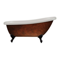 "Acrylic 61"" Slipper Clawfoot Tub Faux Copper Finish, Without Faucet Holes"