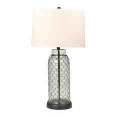 """Glass 31"""" Table Lamp Mesh Overlay, Clear"""