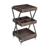 Contemporary Serving Trolley, Steel Frame and Solid Walnut Wooden Shelves