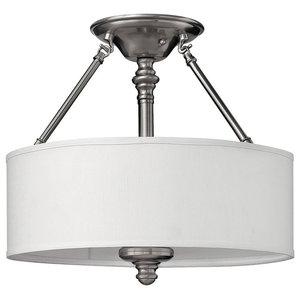 Sussex Brushed Nickel Semi-Flush Ceiling Light