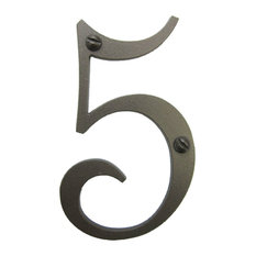 Classic Smooth Spanish Style Address Numbers, Bronze, 5