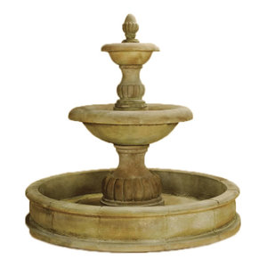 Isola Two Tier Pond Outdoor Cast Stone Garden Fountain, Toscano (TO), Easy Pond