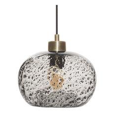 Mini Pendant Light Handblown Rustic Seeded Glass Hanging Light, Clear