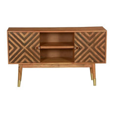 60?s Retro Psychedelic X Acacia Wood TV Console Media Cabinet