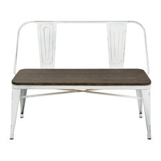 Lumisource Oregon Bench, White and Espresso