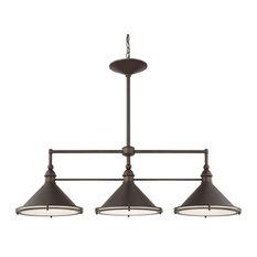 Capital Lighting 812231 Langley 3-Light Linear Chandelier, Burnished Bronze