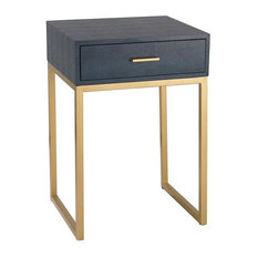 "Sterling Industries 24"" Shagreen Side Table, Navy/Gold Finish"