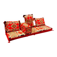 Sana 5-Piece Floor Seating Set, Arabesque Red, Red, Foam Filled