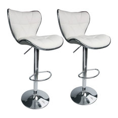 Set Of 2 Bar Stools Diamond Shell Patterned PU Leather Comfortable White